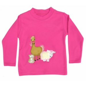 long-sleeve-cerise-t-shirt-with-farmyard-gathering-applique